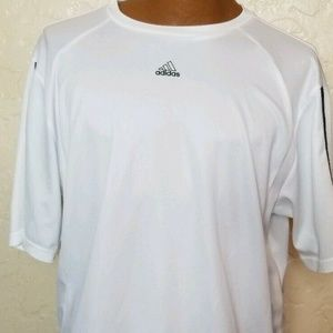 Adidas Mens Athletic T Shirt 3 Lines White Size XL